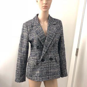 Zara tweed blue yellow check wool jacket coat M